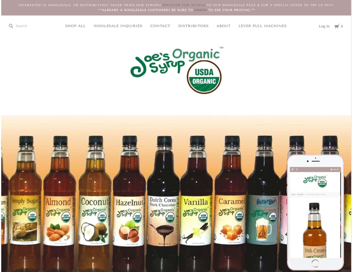 Joe's Organic Syrup website